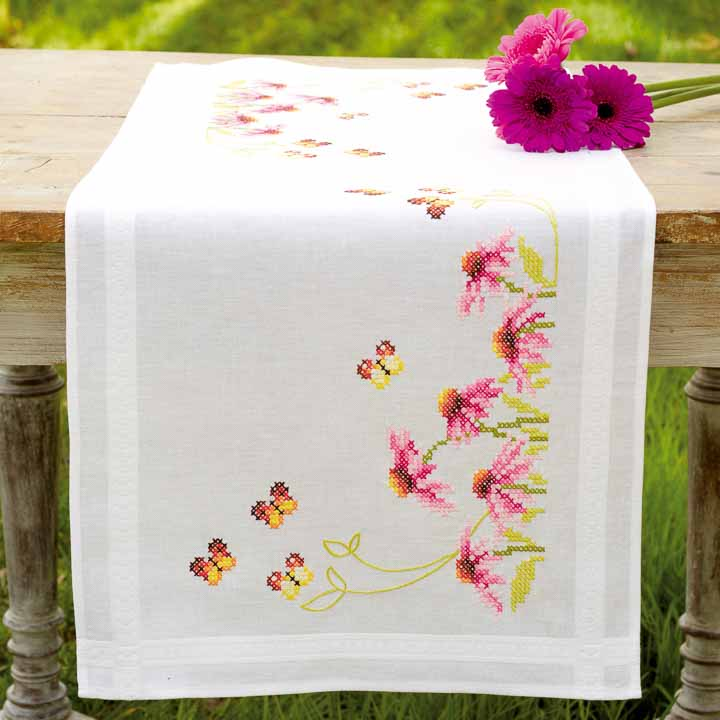 Vervaco Embroidery Kit: Runner: Echinacea and Butterfly Runners and Tablecloth
