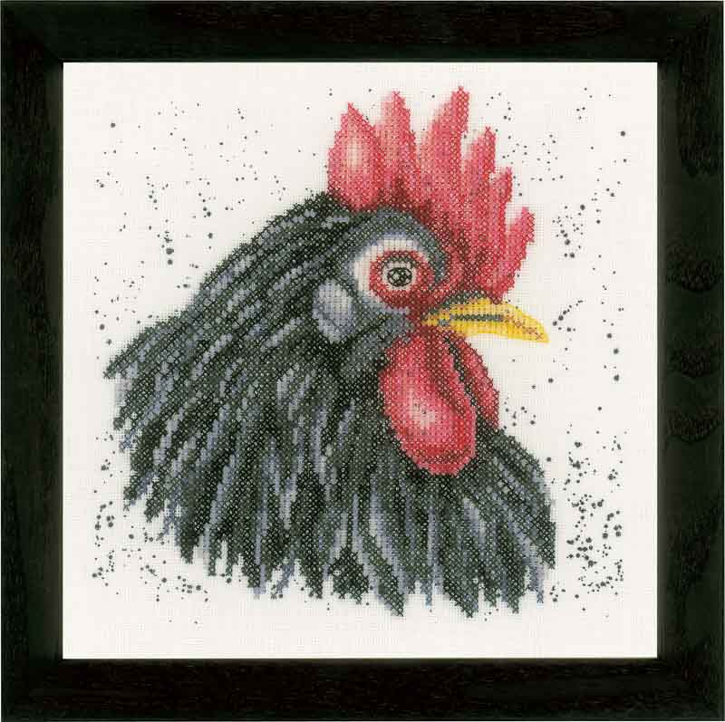 Lanarte Counted Cross Stitch Kit: Black Chicken Animals & Birds CSK