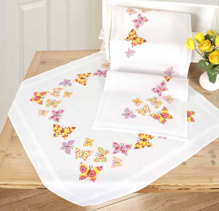 Vervaco Embroidery Kit: Runner: Butterfly Flapping Runners and Tablecloth