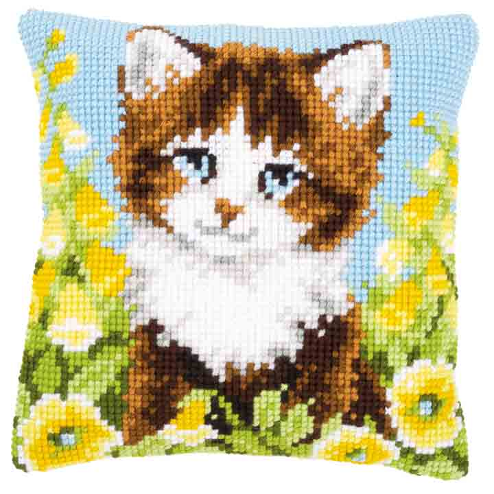 Vervaco Cross Stitch Cushion: Cat and Yellow Flowers