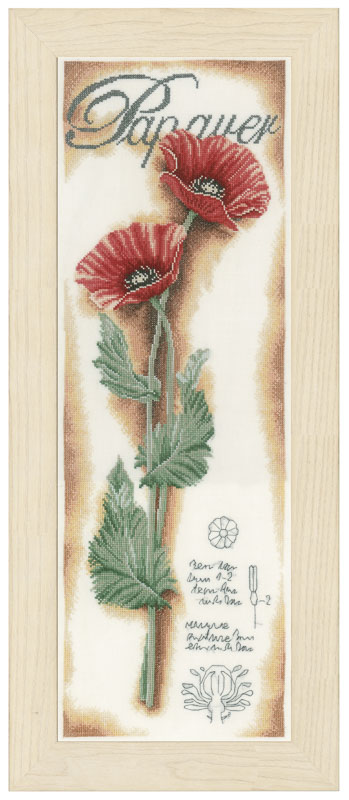 Lanarte Counted Cross Stitch Kit: Red Poppies (Linen)