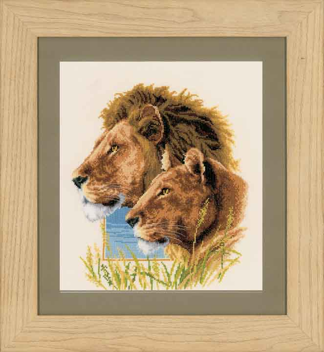 Counted Cross Stitch Kit: Lion Duo