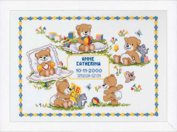 Counted Cross Stitch: Birth Record: Teddies Birth Records CSK