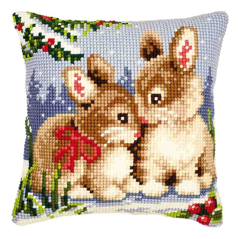 Vervaco Cross Stitch Cushion Kit: Winter Scene Bunnies Bears & Mice CSCK