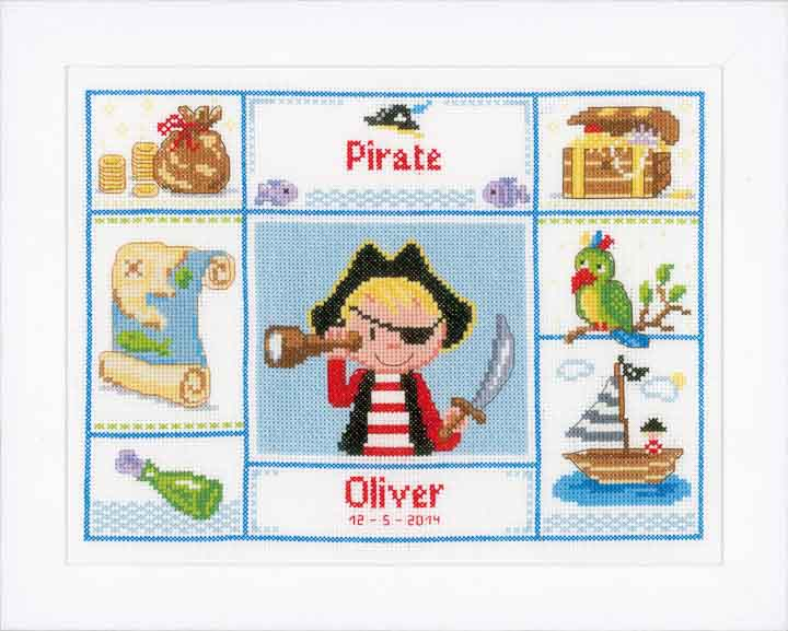 Counted Cross Stitch: Birth Record: One Eyed Pirate