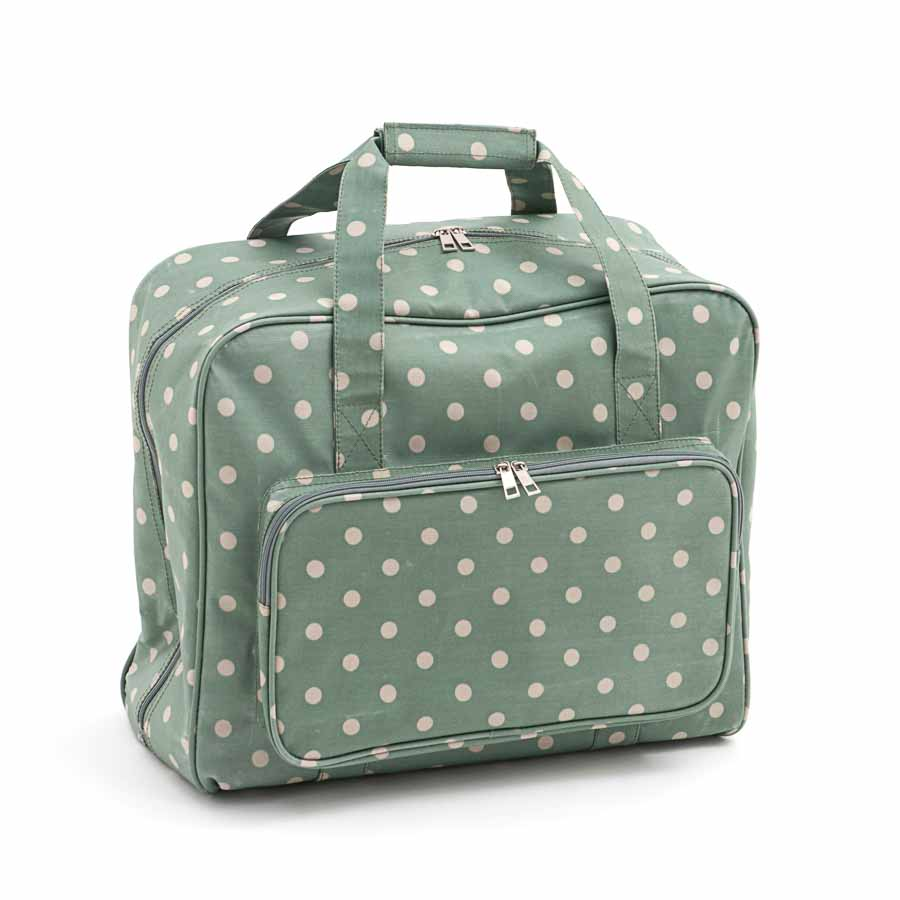 HobbyGift Sewing Machine Bag: Matt PVC: Moss Polka Dot | MR4660_264