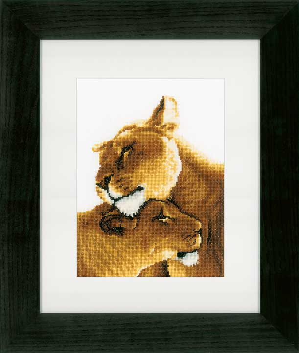 Counted Cross Stitch Kit: Lion Friendship Animals & Birds CSK