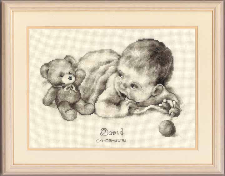 Counted Cross Stitch Kit: Birth Record: Baby with Teddy