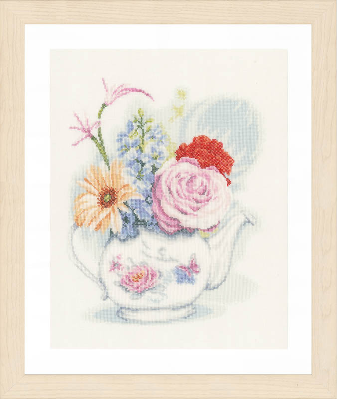 Lanarte Counted Cross Stitch Kit: Flowers in Teapot (Linen)