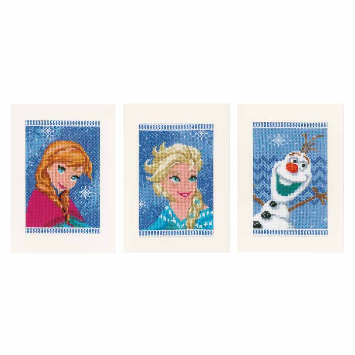 Vervaco Counted Cross Stitch Kit: Greeting Cards: Frozen - Elsa, Olaf & Anna (Set of 3) Characters CSK