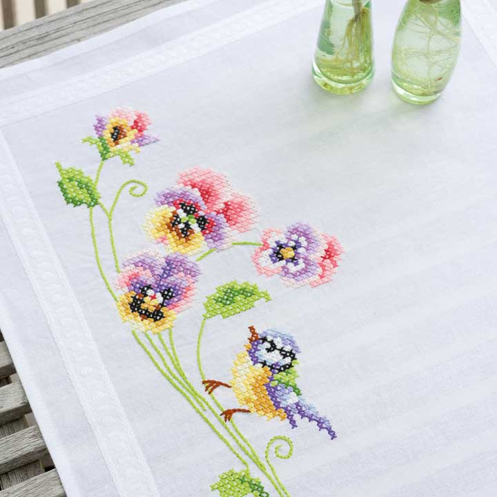 Vervaco Embroidery Kit: Runner: Bird & Pansies Runners and Tablecloth