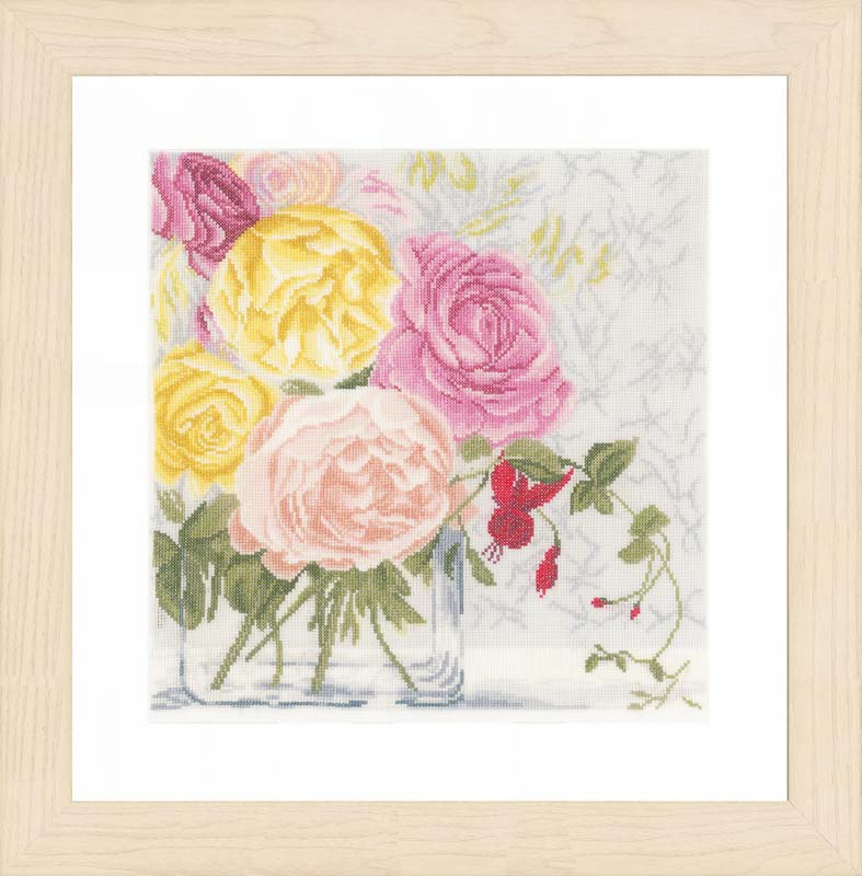 Lanarte Counted Cross Stitch Kit: Pastel Flowers: (Linen)