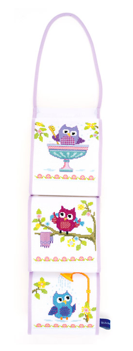 Counted Cross Stitch Kit: Toilet Roll Holder: Owls In Bathroom
