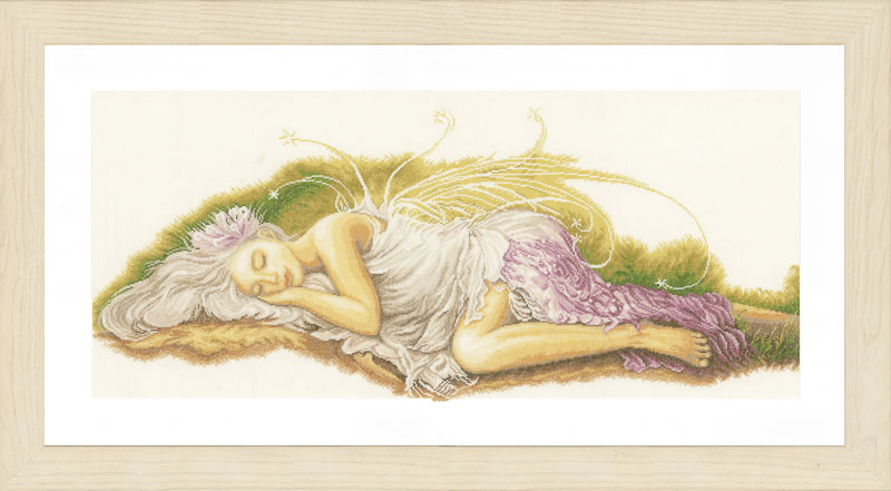 Lanarte Counted Cross Stitch Kit: Sleeping Angel (Linen) Faith & Celestial CSK