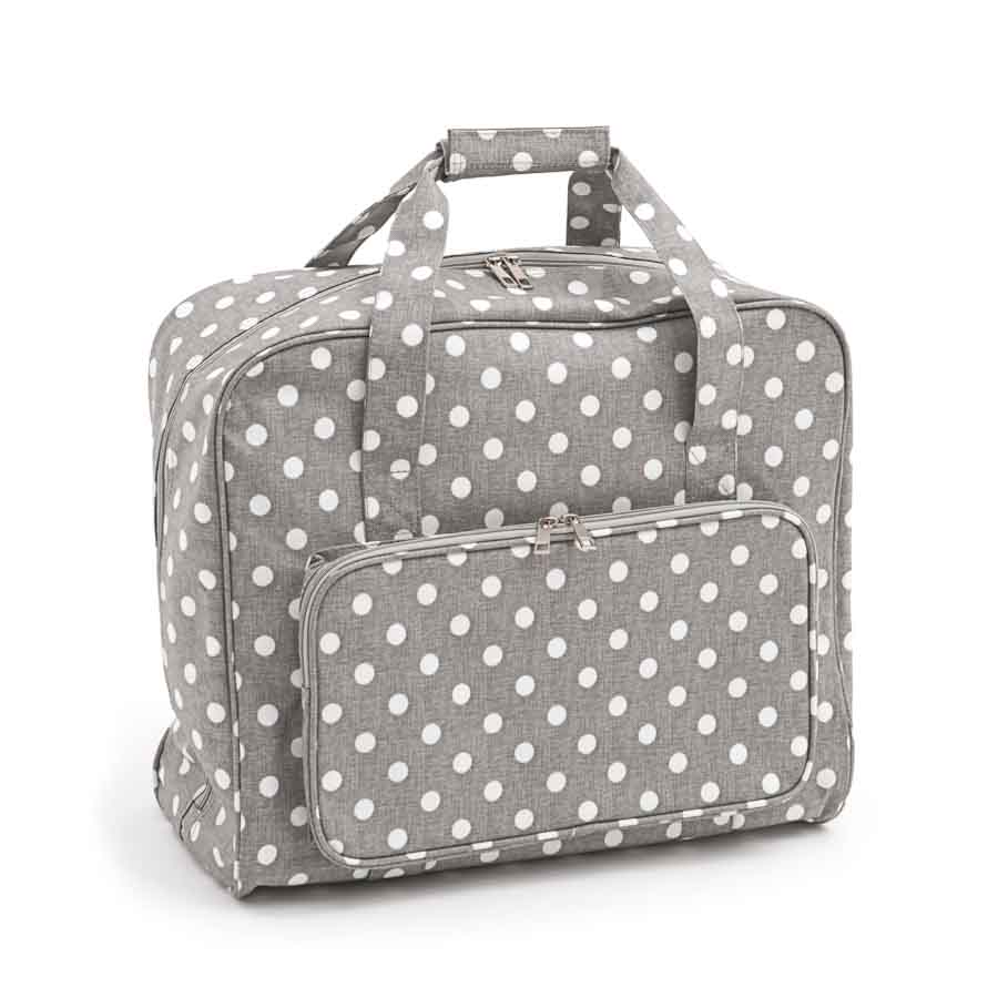 HobbyGift MR4660_268 | Sewing Machine Bag | Matt PVC | Grey Linen Polka Dot Sewing Machine Bags