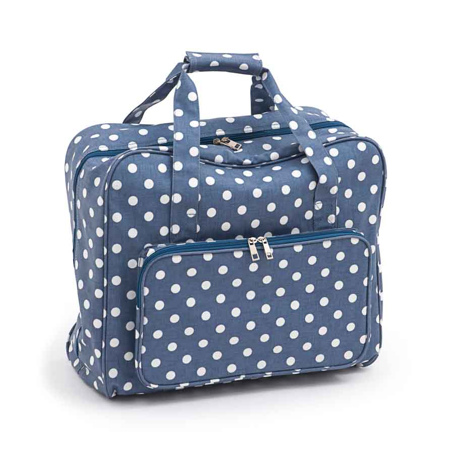 HobbyGift MR4660_271 | Sewing Machine Bag | Matt PVC | Denim Polka Dot