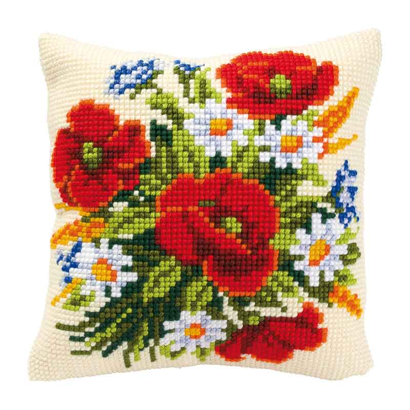 Vervaco Cross Stitch Cushion Kit: Flowers