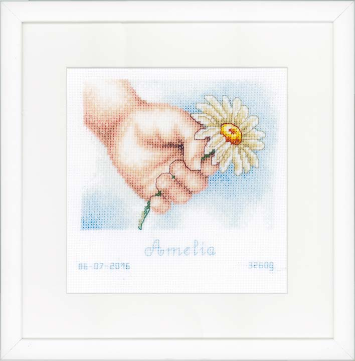 Counted Cross Stitch: Birth Record: Hand with Daisy