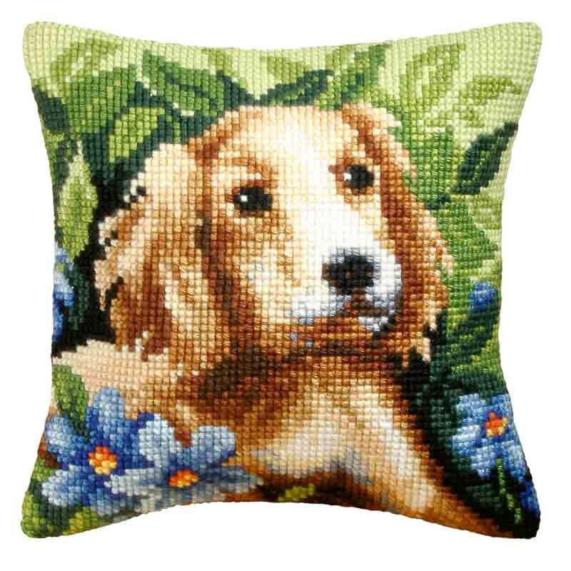 Orchidea Cross Stitch Kit: Cushion: Large: Dog