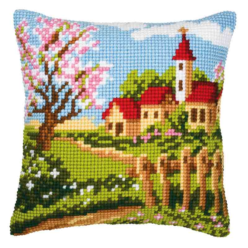 Vervaco Cross Stitch Cushion Kit: Country Church Buildings CSCK