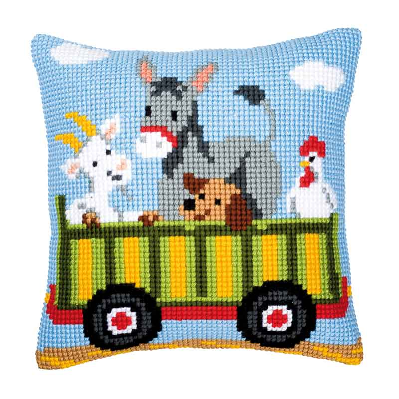 Vervaco Cross Stitch Cushion Kit: Tractor 3 Cars & Transport