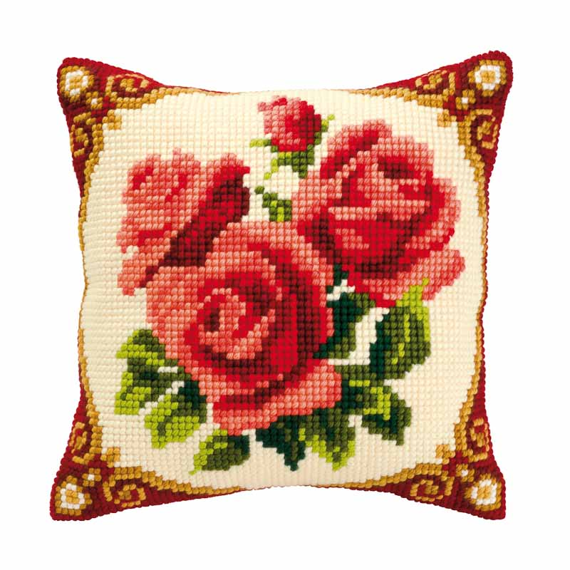 Vervaco Cross Stitch Cushion Kit: Red Roses Flowers & Nature CSCK