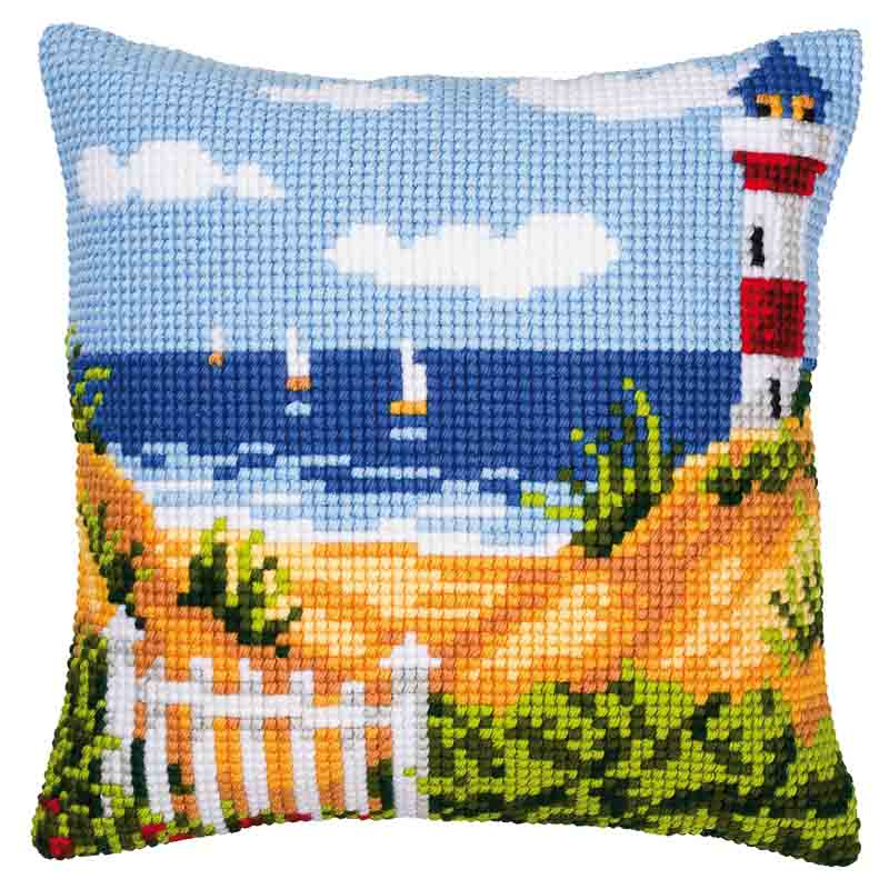 Vervaco Cross Stitch Cushion Kit: Lighthouse Buildings CSCK
