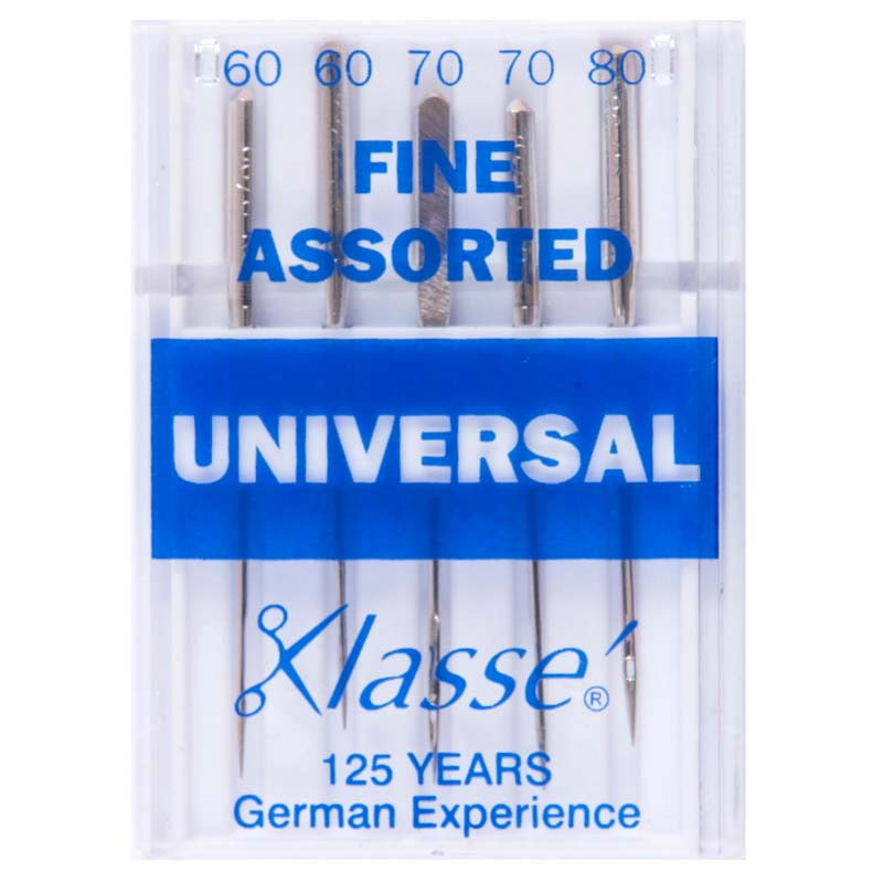 Klasse Sewing Machine Needles: Universal: Fine: Assorted: 5 Pieces Universal Needle