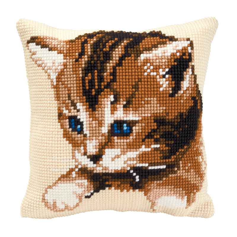 Vervaco Cross Stitch Cushion Kit: Kitten Cats & Dogs CSCK