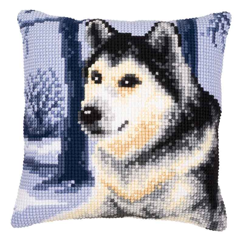 Vervaco Cross Stitch Cushion Kit: Husky Cats & Dogs CSCK