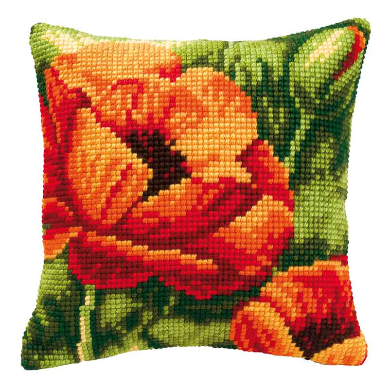 Vervaco Cross Stitch Cushion Kit: Poppies