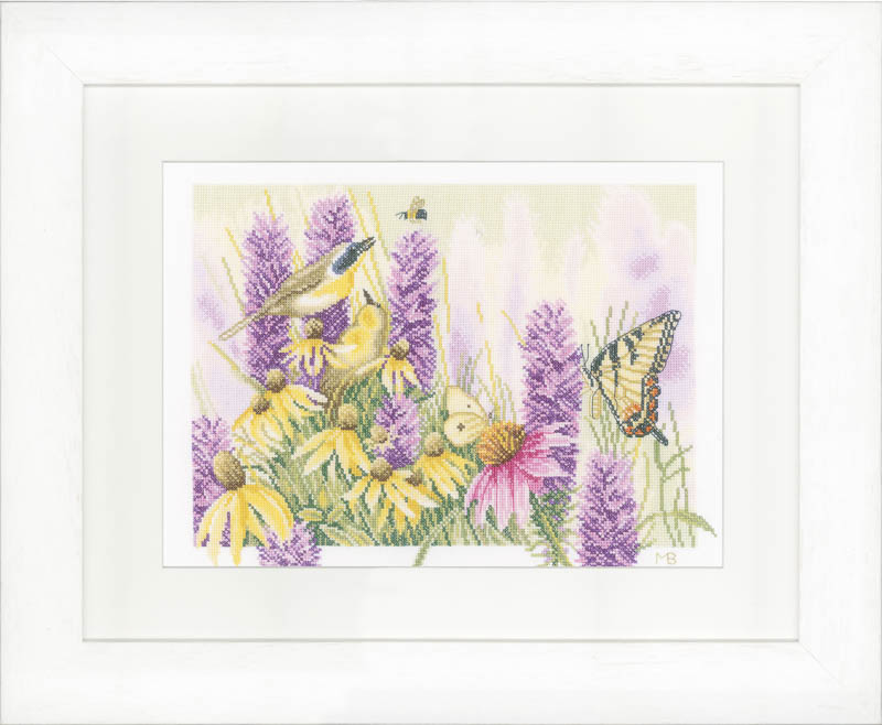 Lanarte Counted Cross Stitch Kit: Butterfly Bush and Echinacea (Aida) Insects & Bugs CSK
