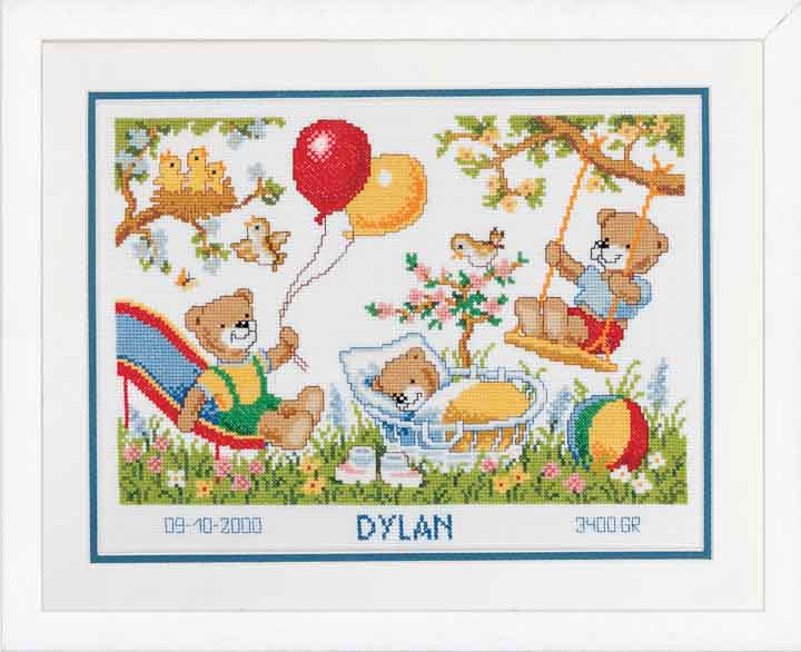 Counted Cross Stitch Kit: Birth Record: Teddies in Garden Birth Records CSK