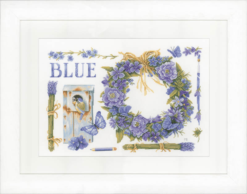 Lanarte Counted Cross Stitch Kit: Lavender Wreath (Evenweave)