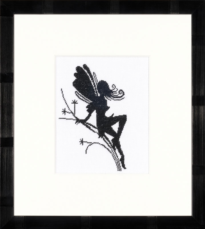 Lanarte Counted Cross Stitch Kit: Cute Little Fairy on Twig Silhouette (Evenweave)