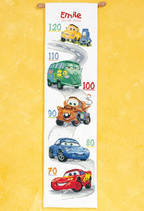 Counted Cross Stitch Kit: Height Chart: Cars Buildings CSK