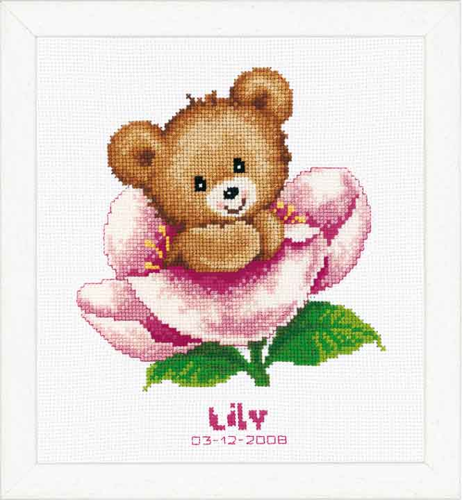 Counted Cross Stitch: Birth Record: Flower Teddy Birth Records CSK