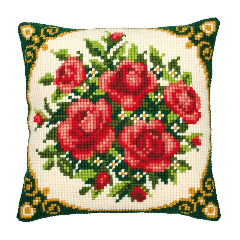 Vervaco Cross Stitch Cushion Kit: Pale Red Roses