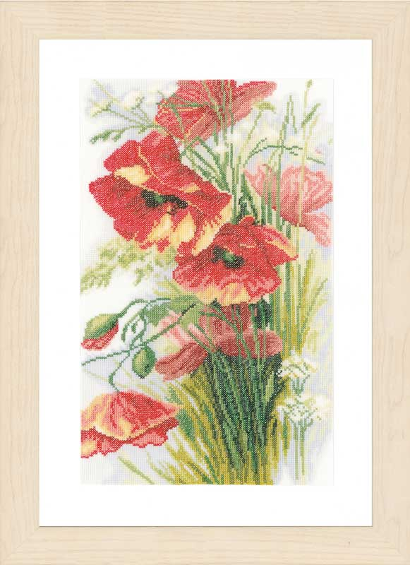 Lanarte Counted Cross Stitch Kit: Poppies (Linen)