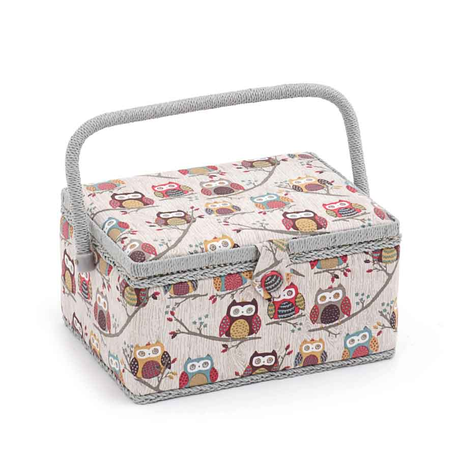 HobbyGift MRM_195 | Sewing Box (M) | Rectangle | Hoot Bird Print Sewing Box