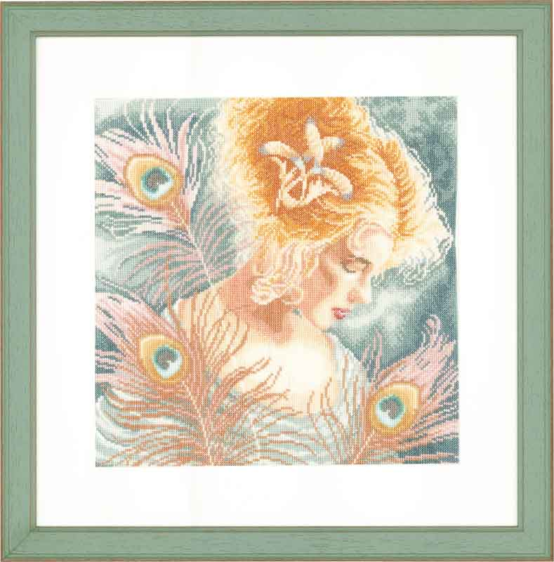 Lanarte Counted Cross Stitch Kit: Young Woman with Peacock Feathers (Linen) Beauty & Love CSK