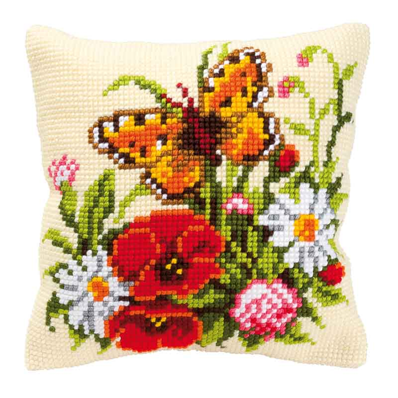 Vervaco Cross Stitch Cushion Kit: Butterfly