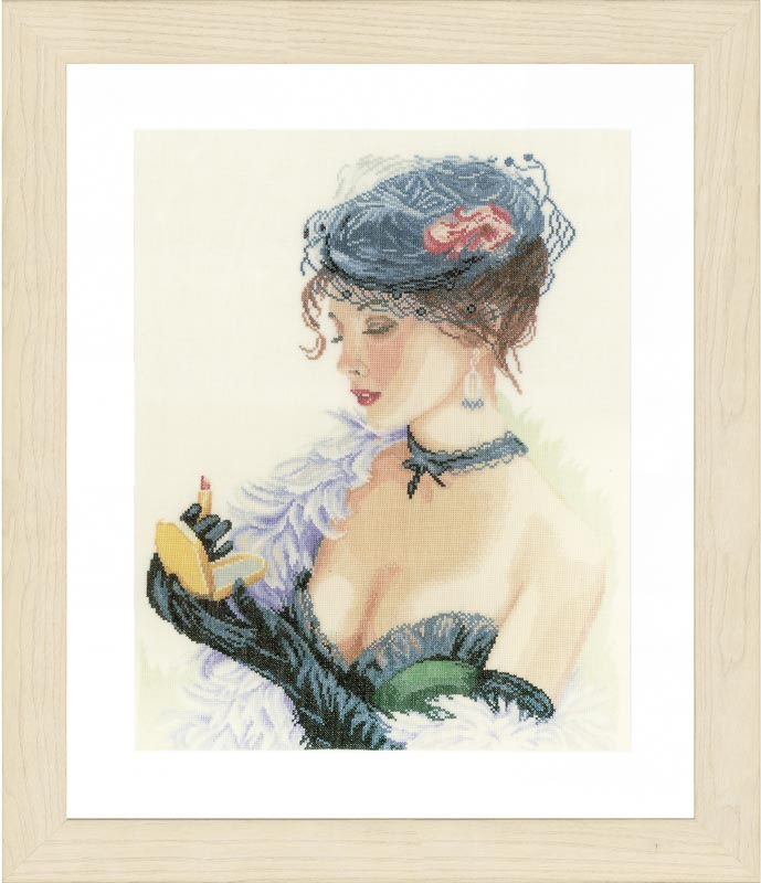 Lanarte Counted Cross Stitch Kit: Lady With Lipstick (Linen)