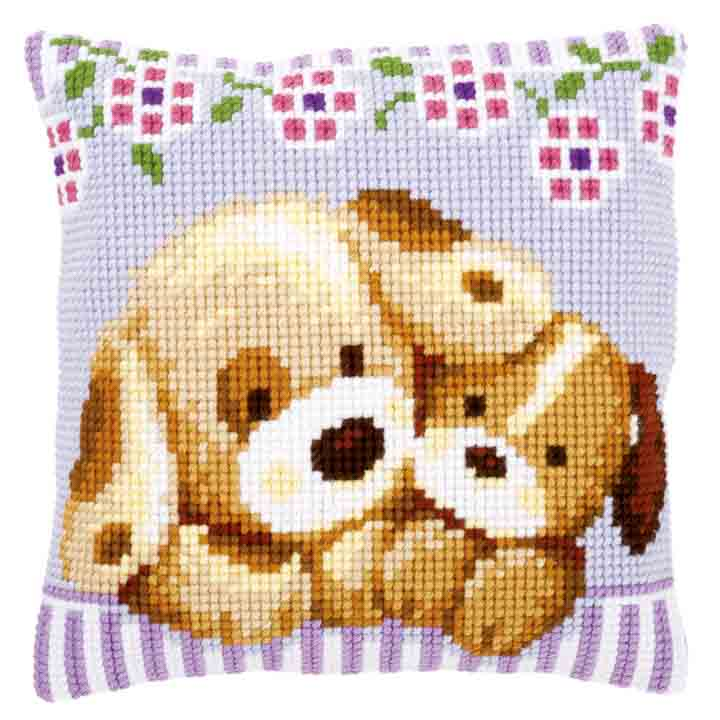 Vervaco Cross Stitch Cushion: Cuddling Dogs