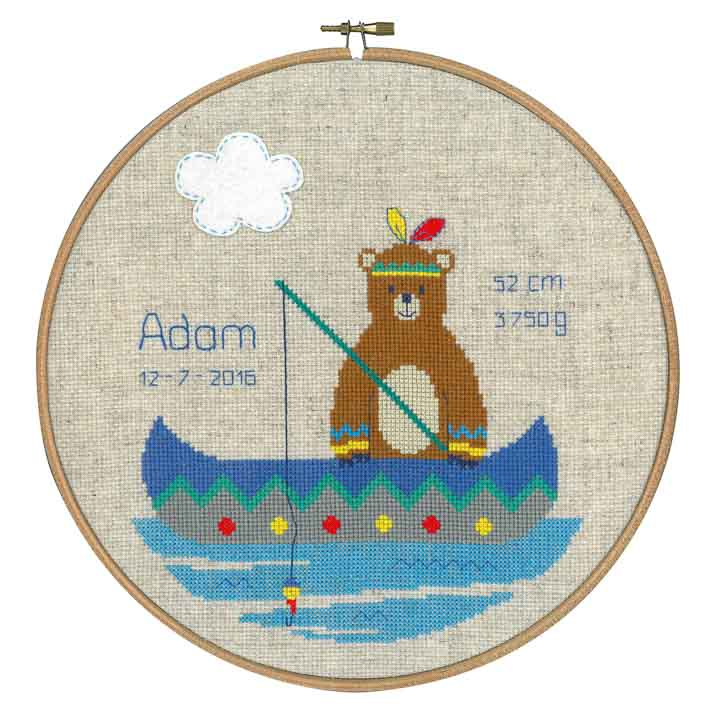 Counted Cross Stitch Birth Record: Lief! Indian Bear - Canoe Birth Records CSK