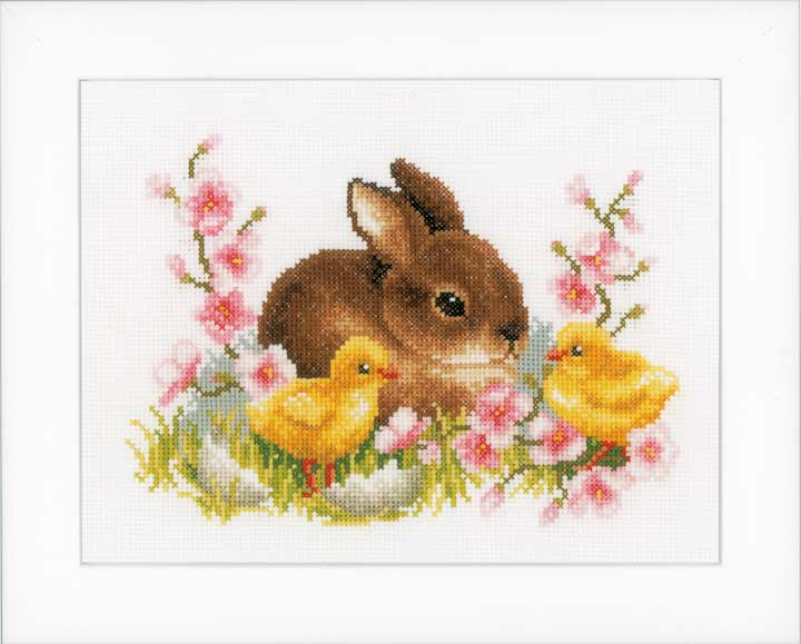 Counted Cross Stitch Kit: Rabbit With Chicks