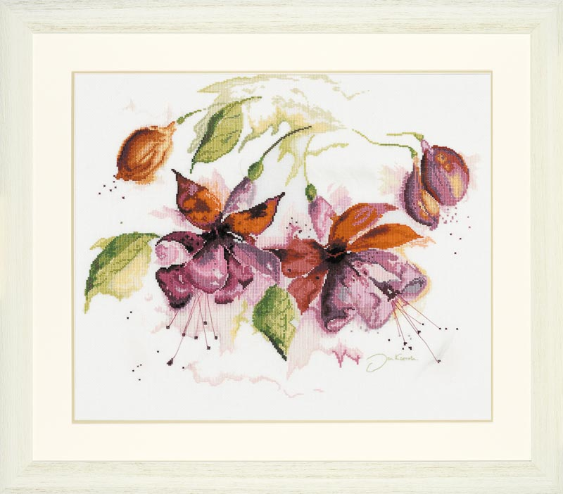 Lanarte Counted Cross Stitch Kit: Fuchsia in Watercolour (Linen)