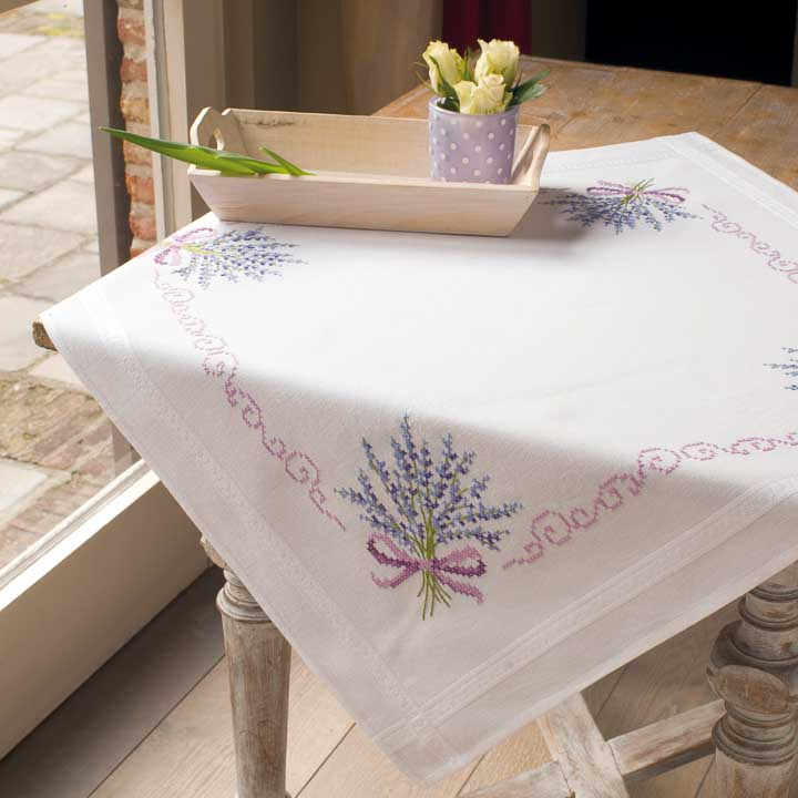 Vervaco Embroidery Kit: Tablecloth: Lavender Runners and Tablecloth