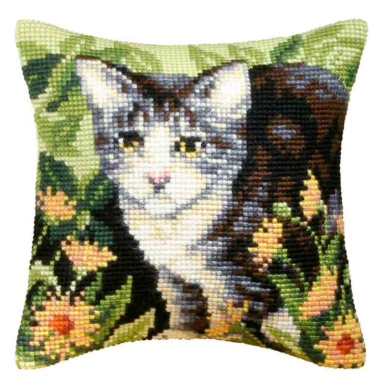 Orchidea Cross Stitch Kit: Cushion: Large: Cat