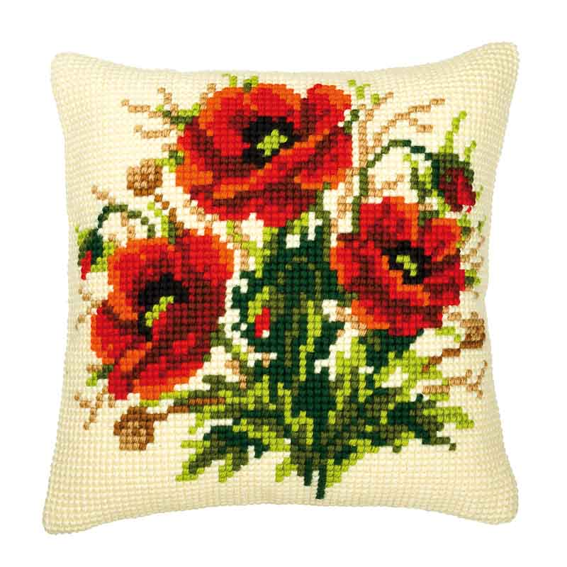 Vervaco Cross Stitch Cushion Kit: Poppies Cats & Dogs CSCK